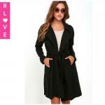 Best Europe new autumn big black long-sleeved jacket lapel waist lacing loose trench coat wholesale