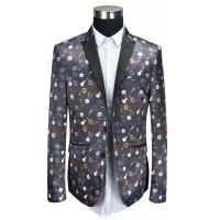Black Piping Mens Tuxedo Suit Blazer Printed T/R Fabric Anti Wrinkle Breathable