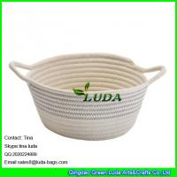 Best LUDA 2016 new bag striped collapsible cotton rope bag storage baskets wholesale
