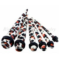 Best Custom Leopard Skin 3mm, 4mm Non - Toxic Ear Tapers / Ear Piercing Jewelry Without Tags wholesale