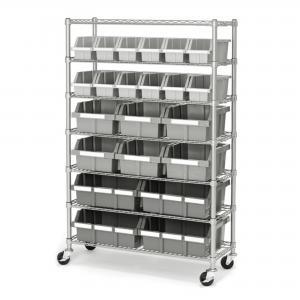 China 7 Shelf 22 Bins Kitchen Storage Mobile Wire Shelving Standard Size on sale