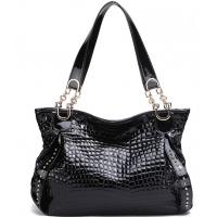 Cheap wholesale price crocodile pattern patent leather women shoulder bags for sale