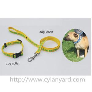 Best satin ribbon polyester lanyard dog leash and dog collar gift set,silk screen printed logo, wholesale