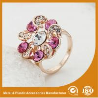 China Zinc Alloy High Fashion Jewelry Rings ,  Ladies Gold Rings With Colorful Zircon on sale