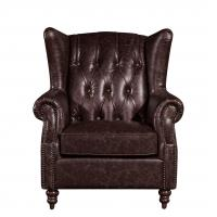 Best Home Furniture High Back Leather Armchair Movable Eitherdown Cushion Solidwood Frame wholesale