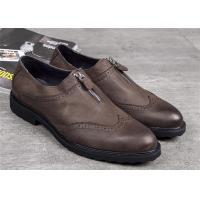 Cheap Elegant Classic Dress Shoes Dark Brown Wingtip Brogues With Zipper for sale