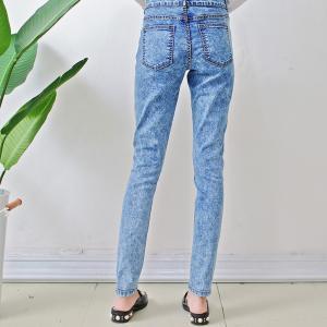 Best Size10-12-14-16-18 damaged patch women woven denim slim jeans wholesale
