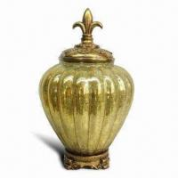 Best 28 x 28 x 47cm Decorative Resin Gold Uplight Table Lamp with Vertical Stripes Design wholesale