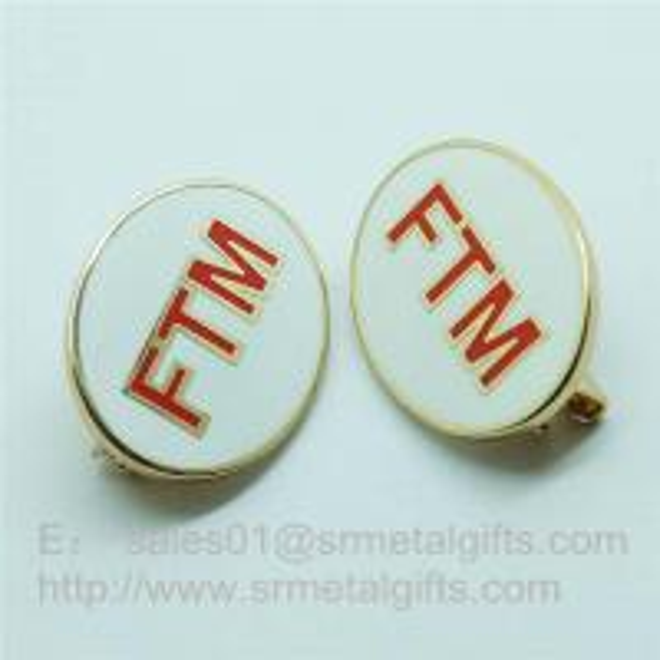 Cheap Cloisonne Emblem Lapel Pins, soft enamel monogram letter badge pins with safety pin for sale