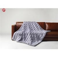Best Stripe Rabbit Throw Faux Animal Fur Blanket Super Soft With Custom Logo Light Gray with white tips wholesale
