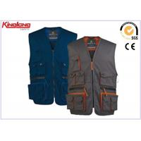 China Men's sleeveless Jacket Polyester Cotton Work Vest with Multi pocket on sale