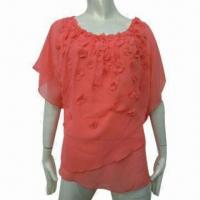 Cheap Fashionable Blouse Design for Women, Appliqued Women's Top Blouse for Summer for sale