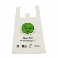 China eco friendly biodegradable  PLA  PBAT shopping T Shirt carry  bag for grocery  store supermarket on sale