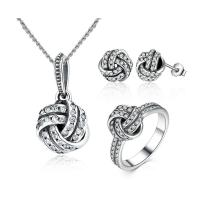 Best 925 Sterling Silver Necklace Earring Ring Sets Love Knot Weave With Cubic Zirconia wholesale