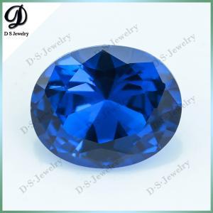 China Precious synthetic corundum oval shape loose blue sapphire price per carat on sale