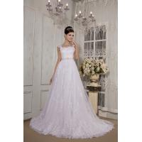 Best Casual Strap White Long Train Lace Wedding Dress Bridal Gown With Waist Band Online wholesale