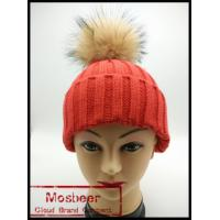 Best Women`s knitted hat wit big raccoon fur ball/knitted beanie hat for girls wholesale