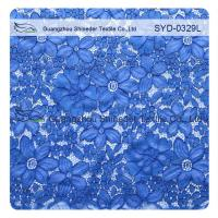 China Blue Corded Lace Fabric For Wedding Dresses / High Fashion Lace Fabrics on sale