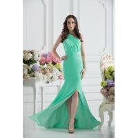 Best Gorgeous Green One Shoulder Mermaid Floor Length Chiffon Evening party Dress With Beads wholesale