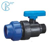 China Plastic Compression Fitting Pipe Connectors Male Ball Valve In PN16 on sale