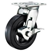 Best Rubber Casting Iron Heavy Duty Caster Wheels With Swivel Plate And Side Brake wholesale