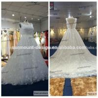 China New Design High Quality All Lace Scoop Neck V Back Ball Gown Cap Sleeve Wedding Dress on sale
