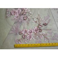 Cheap Embroidered 55 Inch Peach Color 3D Floral Rose Lace Fabric With Beads And Sequins for sale