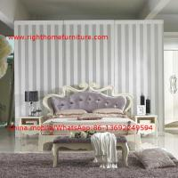Best Flowers Headboard Wooden Bed in Neoclassical fabric design for luxury multiple star B& B Room Furniture wholesale