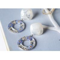 Best Forget-Me-Not Handcrafted Blue White Cube Single Stone And Germany Resin Ring Earrings For Christmas wholesale