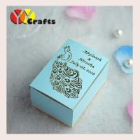 Best Luxury peacock wedding gift packing box with laser cutting names logo wholesale