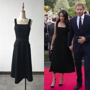 Cheap Elegant Brief Sleeveless Black Dress Same As Harry Princess Megan Chic Women for sale