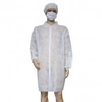 China Customized Unisex Waterproof Non Woven Disposable White Lab Coats on sale