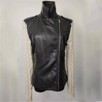 China Girl's Trendy Black Leather Jacket Short Leather Coat With Knitted Sleeves on sale