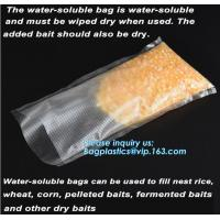 China custom made colored soft PVA water soluble plasticfishing lure packaging, Bait Bags forFishing, dissolved in water fish on sale