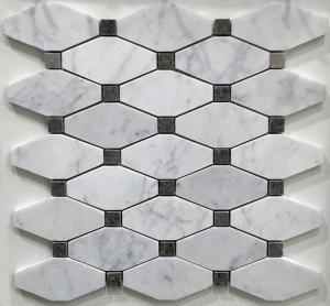 China White And Grey Slate Stone Mosaic Tile Diamond Carrera Venato Marble Black Dots Polished on sale