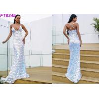 Best Modern Deep V Back Cross Strap Sequins Long Evening Gowns , Sexy Evening Dresses wholesale