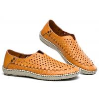 Best Breathable Punched Holes Mens Casual Summer Shoes , Khaki Leather Business Shoes wholesale