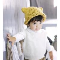 Best Hand hook coarse wool cap children's horn curling hat new hat warm fashion headdress wholesale wholesale