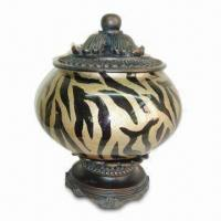 Best Decorative Jewelry Case, Made of Glass and Polyresin in Zebra Pattern Finishes, MOQ of 300 Pieces wholesale