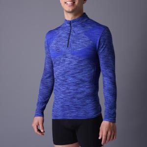 Best Active men's sport coat,  XLSC002, melange blue, seamless stretch long sleeve,T-shirt.  better silhouette wholesale