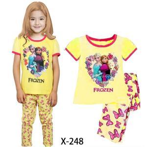 China Yellow Girl Frozen SummerPajamas Set X-248 on sale