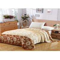 Best Floral Pattern Flannel Fleece Blanket Single Layer With Machine Made Fold Border 1cm Technics wholesale