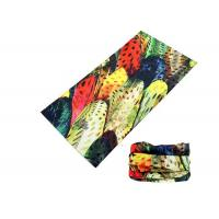 Best Polyester Soft Fadeless UV Buff Headwear Seamless Breathable With Feather Logo wholesale