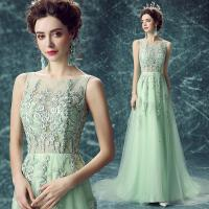 China Green Chiffon Chapel Train Lace Elegant Evening Dresses TSJY054 on sale