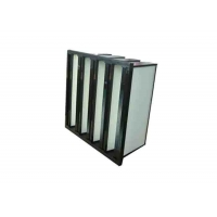 Best Plastic Frame Dust Holding V Bank Air Filters With Fiberglass Medium Material wholesale