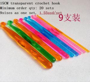 """Best 9 Sizes Multicolour transparent  Plastic Crochet Hooks Needles 5.5"""" (~15 cm) wholesale"""