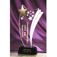China gold star crystal  trophy gifts with black base on sale