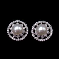 China Fashion Silver Freshwater Pearl Jewelry / Stud Earrings Set For Women Wedding on sale
