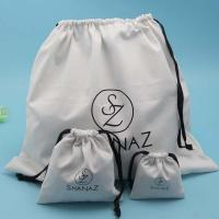 China White Fabric Drawstring Bag , Durable Small Candy Bag With Drawstring Cord on sale