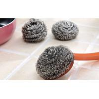 Best Kitchen Cleaning Stainless Steel Scrubber Pads Sliver Color With Plastic Handle wholesale